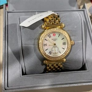 Michele Women's Metallic Caber Diamond Round Watch